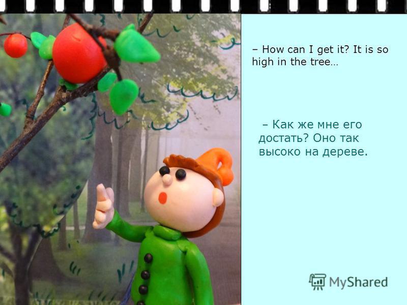 – Как же мне его достать? Оно так высоко на дереве. – How can I get it? It is so high in the tree…