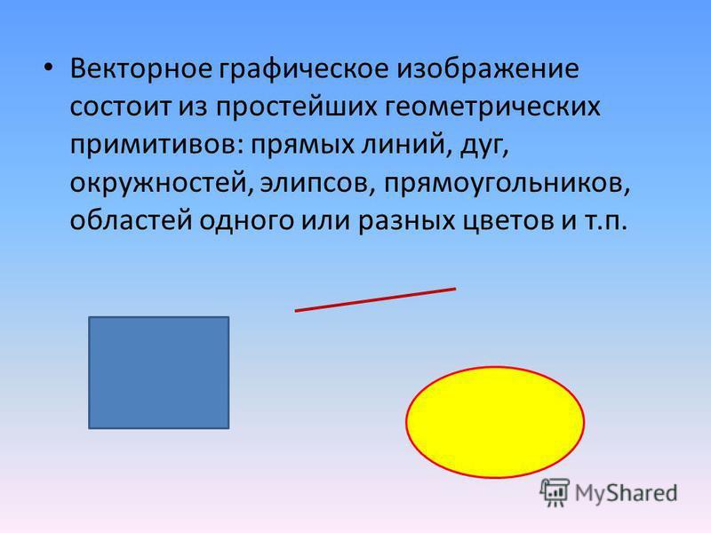 Векторное графическое изображение состоит из простейших геометрических примитивов: прямых линий, дуг, окружностей, эллипсов, прямоугольников, областей одного или разных цветов и т.п.