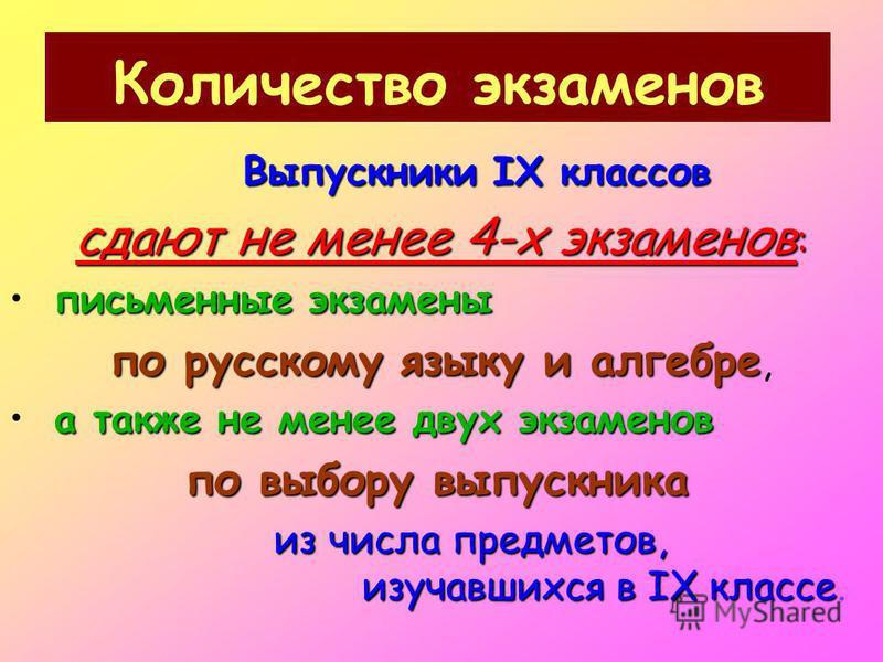 Количество экзаменов Выпускники IX классов сдают не менее 4-х экзаменов : письменные экзамены по русскому языку и алгебре по русскому языку и алгебре, а также не менее двух экзаменов по выбору выпускника из числа предметов, изучавшихся в IX классе из