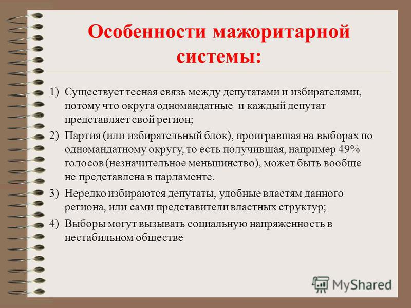 Избирательные системы Мажоритарная (Беларусь, США, Великобритания, Франция) Пропорциональная (Россия, Испания, Швейцария, Нидерланды, Чехия) Абсолютного большинства Относительного большинства Смешанная - основана на принципах мажоритарной и пропорцио