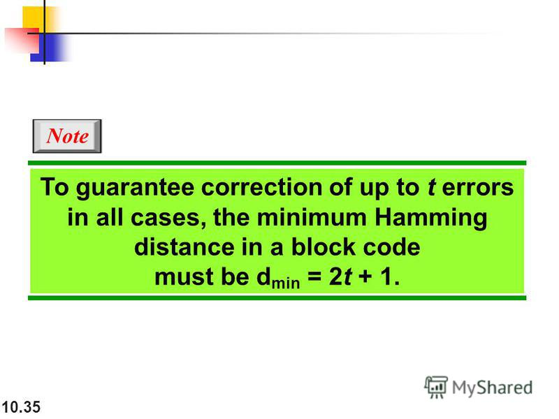 10.35 To guarantee correction of up to t errors in all cases, the minimum Hamming distance in a block code must be d min = 2t + 1. Note