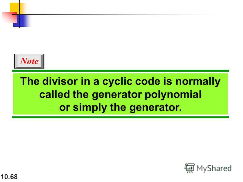 10.68 The divisor in a cyclic code is normally called the generator polynomial or simply the generator. Note