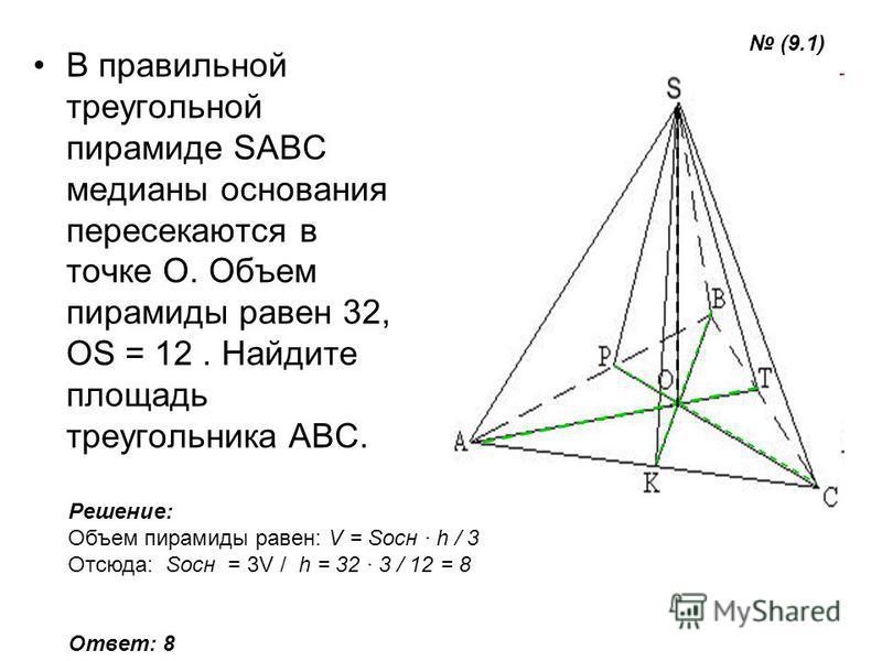 В правильной треугольной пирамиде SABC медианы основания пересекаются в точке O. Объем пирамиды равен 32, OS = 12. Найдите площадь треугольника ABC. Решение: Объем пирамиды равен: V = Sосн h / 3 Отсюда: Sосн = 3V / h = 32 3 / 12 = 8 Ответ: 8 (9.1)