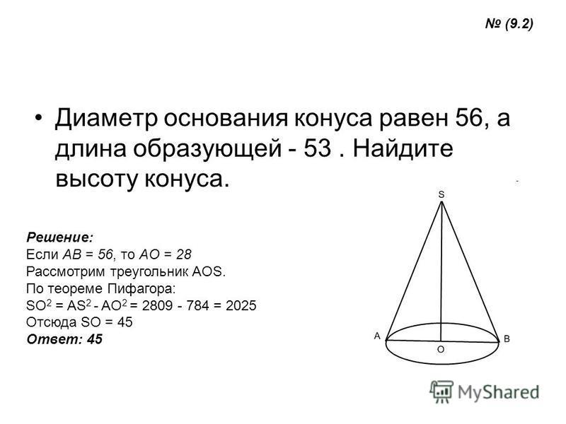 Диаметр основания конуса равен 56, а длина образующей - 53. Найдите высоту конуса. Решение: Если AB = 56, то AO = 28 Рассмотрим треугольник AOS. По теореме Пифагора: SO 2 = AS 2 - AO 2 = 2809 - 784 = 2025 Отсюда SO = 45 Ответ: 45 (9.2)
