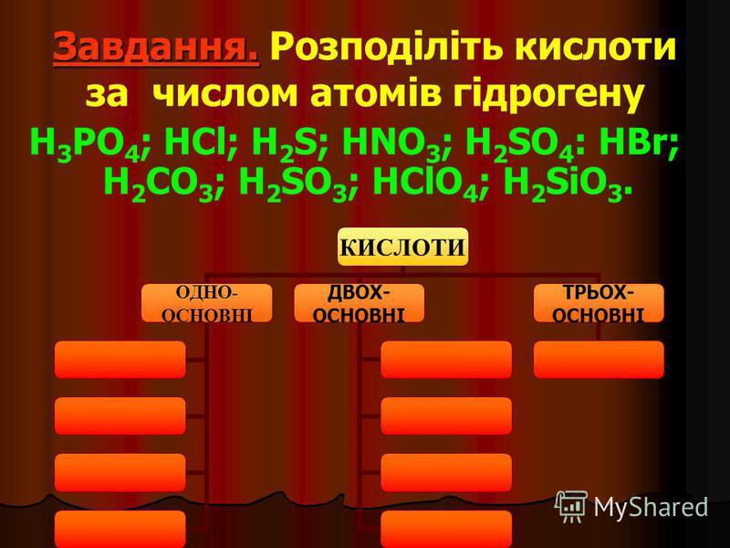Завдання. Завдання. Розподіліть кислоти за числом атомів гідрогену H 3 PO 4 ; HCl; H 2 S; HNO 3 ; H 2 SO 4 : HBr; H 2 CO 3 ; H 2 SO 3 ; HClO 4 ; H 2 SiO 3. КИСЛОТИ ОДНО- ОСНОВНІ ДВОХ- ОСНОВНІ ТРЬОХ- ОСНОВНІ