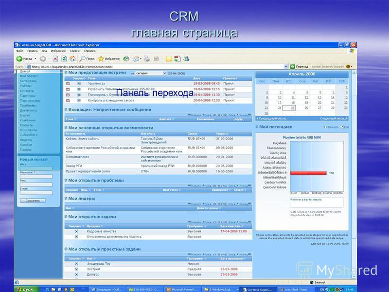 CRM главная страница Панель перехода