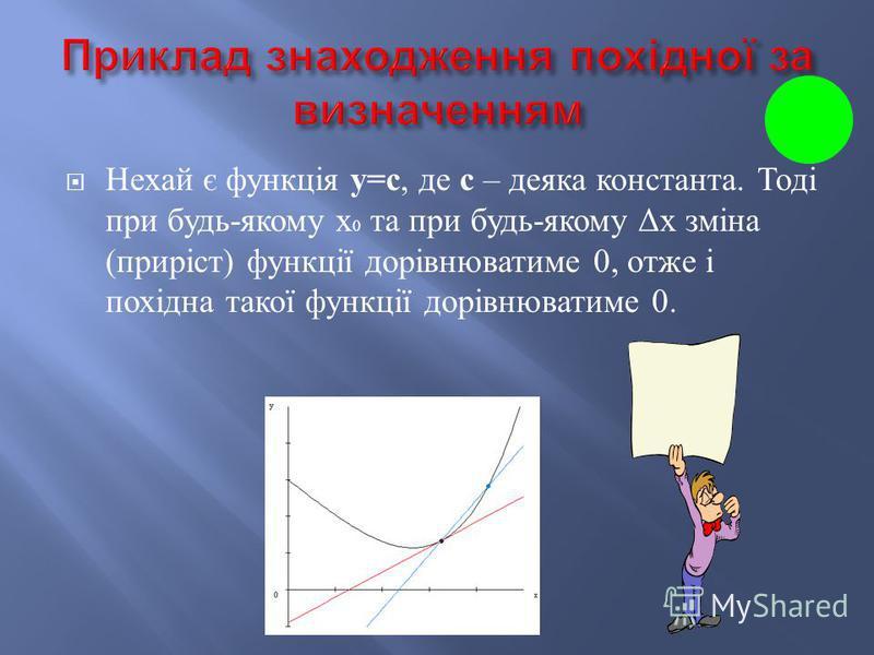 1) Незалежній змінній х надаємо приросту ; 2) Знаходимо приріст залежної змінної ; 3) Знаходимо відношення ; 4) Знаходимо.