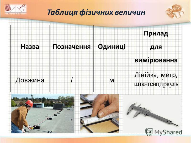 Таблиця фізичних величин НазваПозначенняОдиниці Прилад для вимірювання Довжинаlм Лінійка, метр, штангенци́ркуль
