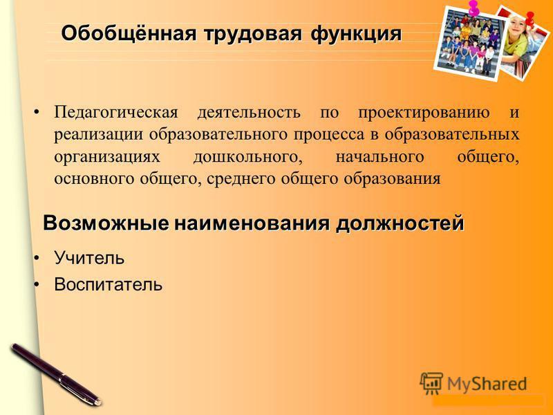www.themegallery.com Обобщённая трудовая функция Педагогическая деятельность по проектированию и реализации образовательного процесса в образовательных организациях дошкольного, начального общего, основного общего, среднего общего образования Учитель