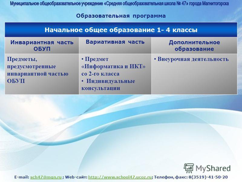 E-mail: sch47@mgn.ru ; Web-сайт: http://www.school47.ucoz.ru; Телефон, факс: 8(3519)-41-50-20sch47@mgn.ruhttp://www.school47.ucoz.ru Начальное общее образование 1- 4 классы Инвариантная часть ОБУП Вариативная часть Дополнительное образование Предметы