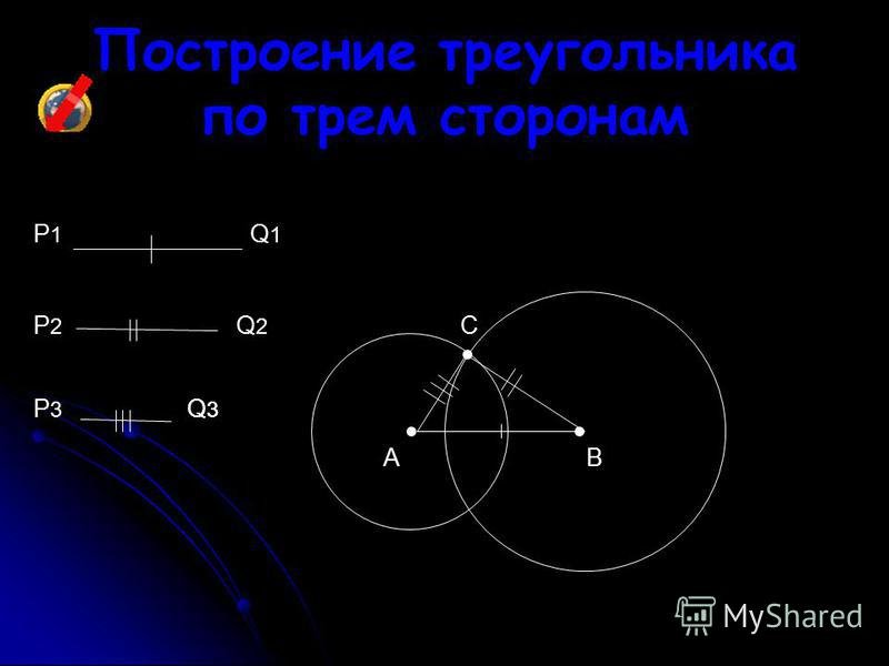 Построение треугольника по трем сторонам P1P1 Q1Q1 Q2Q2 Q3Q3 C BA P3P3 P2P2 Q3Q3