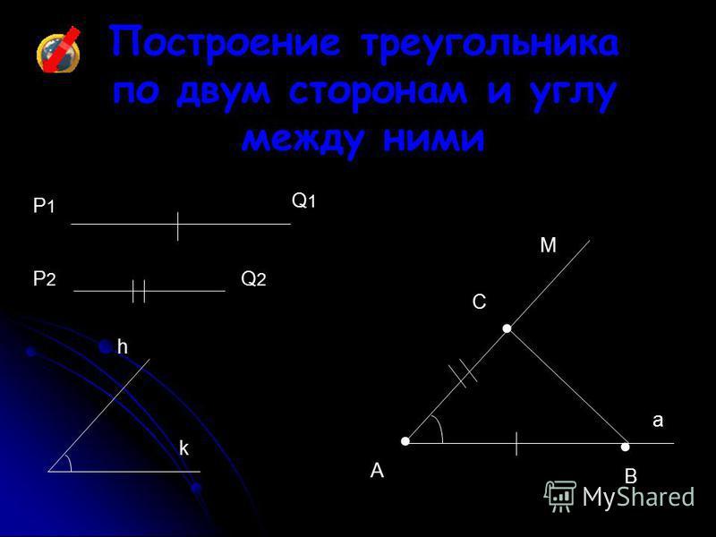 Построение треугольника по двум сторонам и углу между ними Q1Q1 A Р2Р2 M B Р1Р1 Q2Q2 h C a k