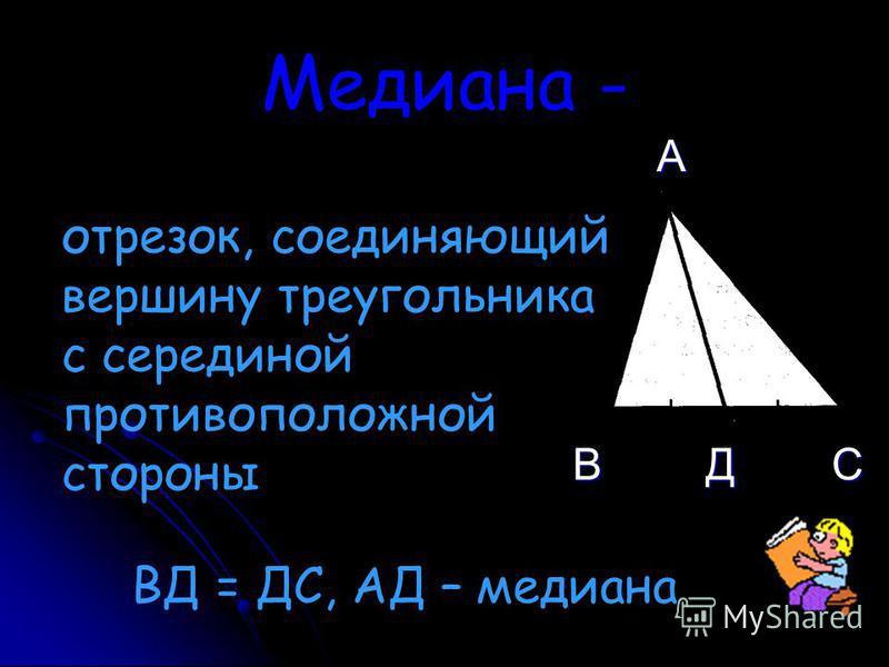 Медиана - отрезок, соединяющий вершину треугольника с серединой противоположной стороны А ВСД ВД = ДС, АД – медиана