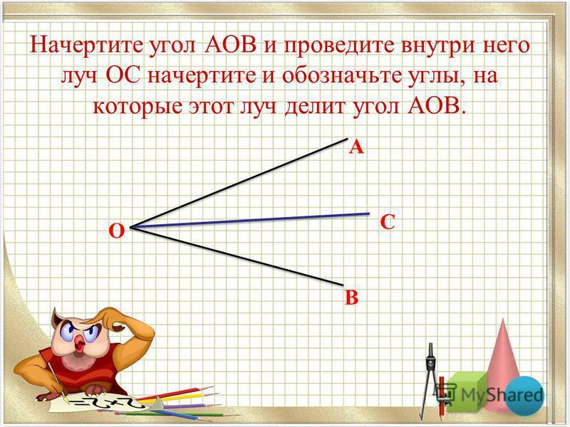 Начертите угол АОВ и проведите внутри него луч ОС начертите и обозначьте углы, на которые этот луч делит угол АОВ. А О В С