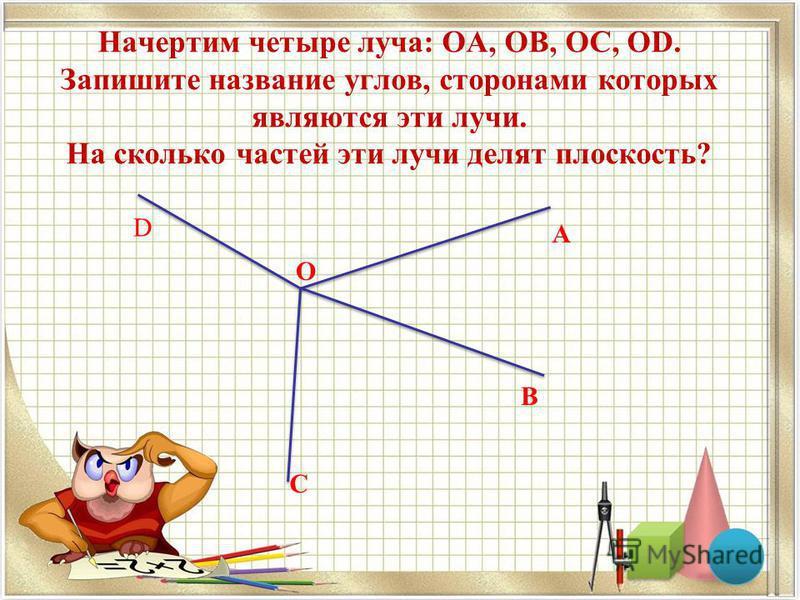 Начертим четыре луча: ОА, ОB, ОС, ОD. Запишите название углов, сторонами которых являются эти лучи. На сколько частей эти лучи делят плоскость? A B C D O