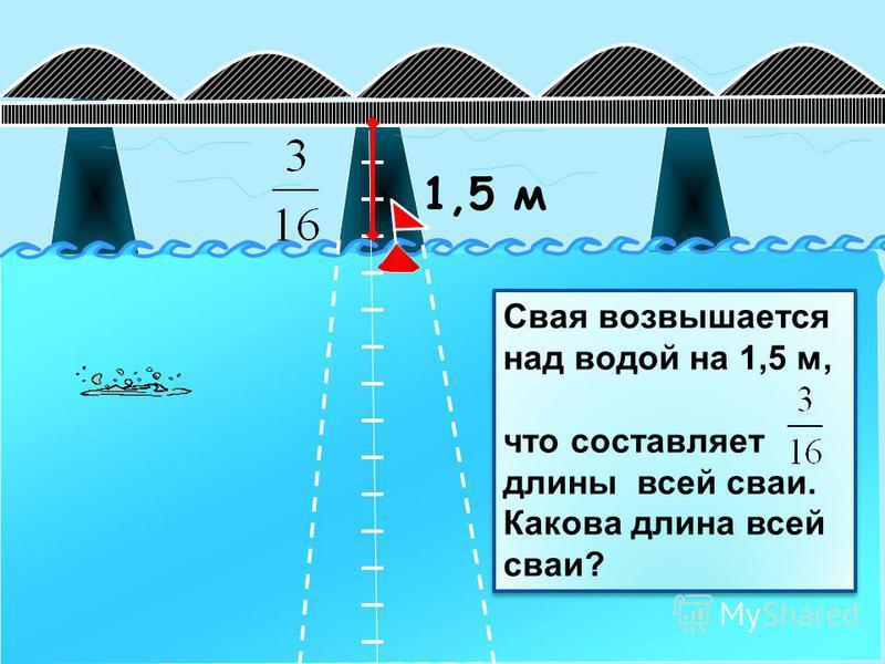 1,5 м Свая возвышается над водой на 1,5 м, что составляет длины всей сваи. Какова длина всей сваи? Свая возвышается над водой на 1,5 м, что составляет длины всей сваи. Какова длина всей сваи?