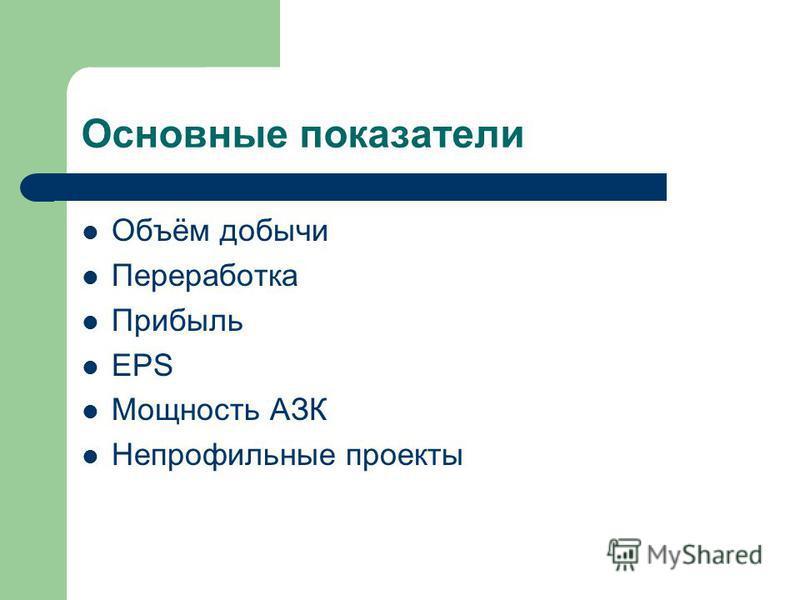 Основные показатели Объём добычи Переработка Прибыль EPS Мощность АЗК Непрофильные проекты