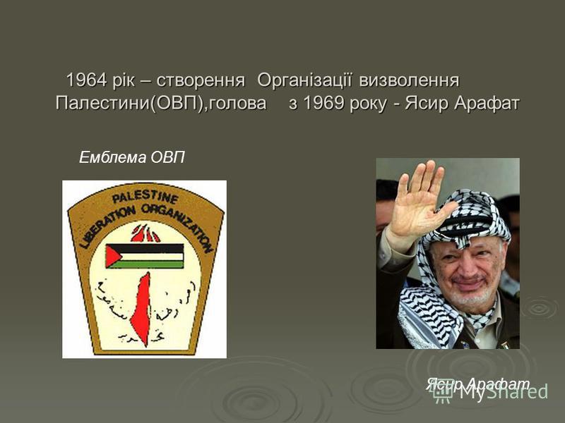 1964 рік – створення Організації визволення Палестини(ОВП),голова з 1969 року - Ясир Арафат 1964 рік – створення Організації визволення Палестини(ОВП),голова з 1969 року - Ясир Арафат Ясир Арафат Емблема ОВП