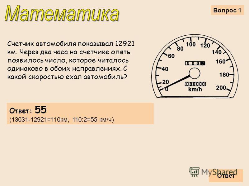 Вопрос 1 Счетчик автомобиля показывал 12921 км. Через два часа на счетчике опять появилось число, которое читалось одинаково в обоих направлениях. С какой скоростью ехал автомобиль? Ответ Ответ: 55 (13031-12921=110 км, 110:2=55 км/ч)