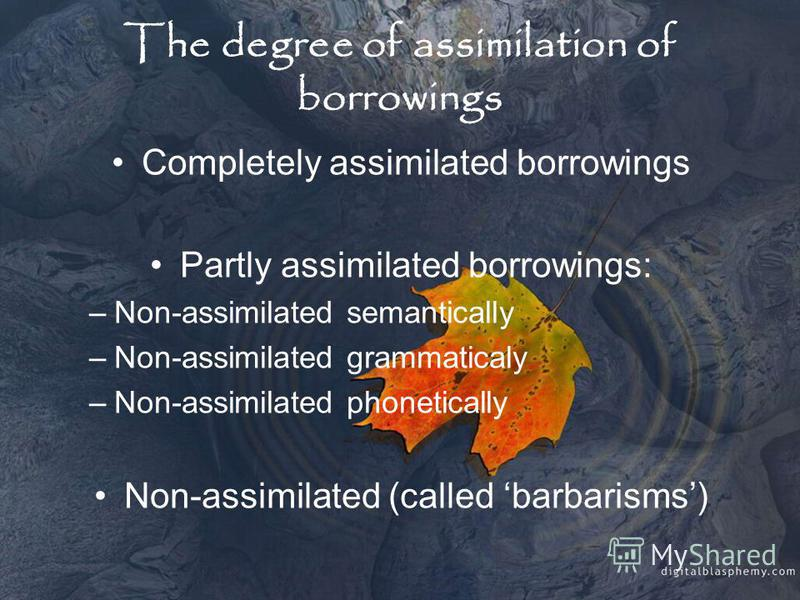 The degree of assimilation of borrowings Completely assimilated borrowings Partly assimilated borrowings: –Non-assimilated semantically –Non-assimilated grammaticaly –Non-assimilated phonetically Non-assimilated (called barbarisms)