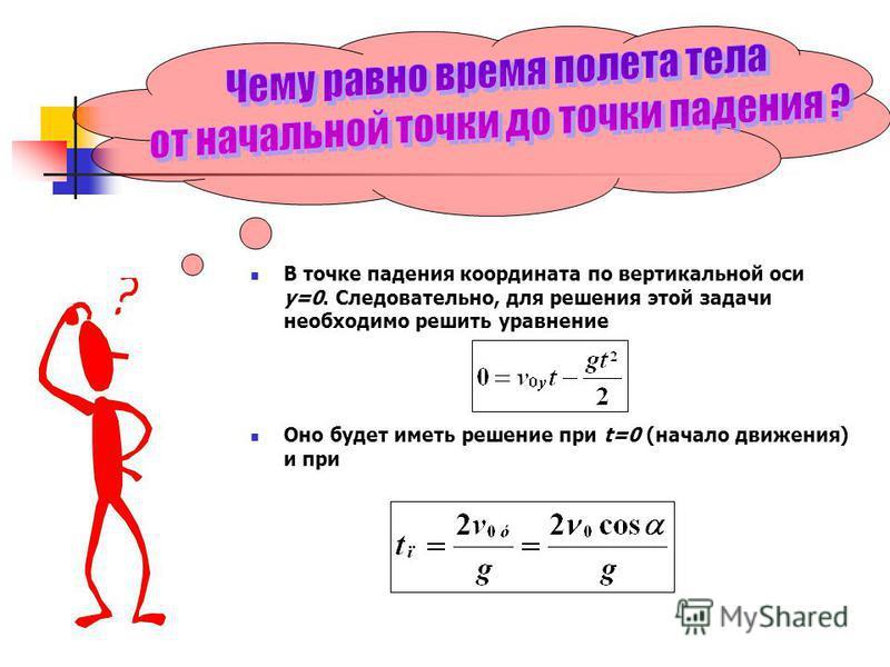 В точке падения координата по вертикальной оси у=0. Следовательно, для решения этой задачи необходимо решить уравнение Оно будет иметь решение при t=0 (начало движения) и при