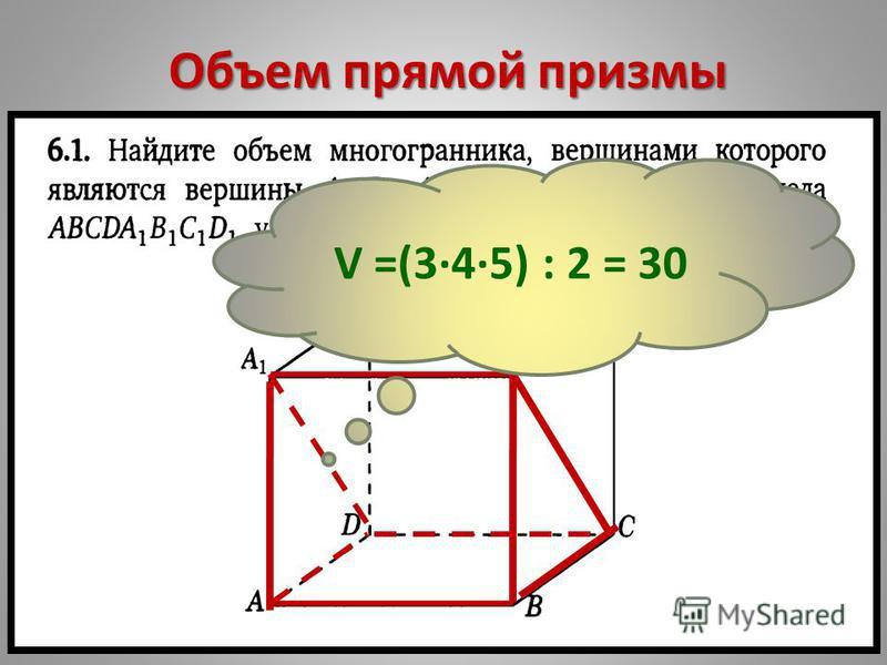 Объем прямой призмы V =(345) : 2 = 30