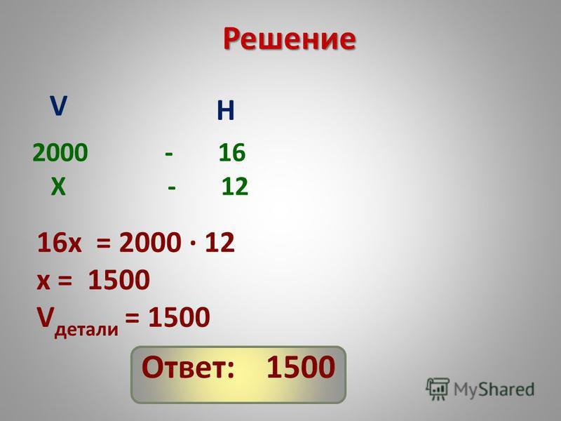 Решение 2000 - 16 X - 12 V H 16x = 2000 12 x = 1500 V детали = 1500 Ответ: 1500