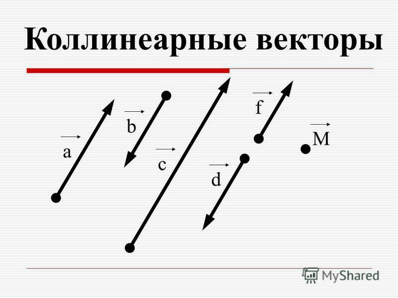 Коллинеарные векторы a b c d f M