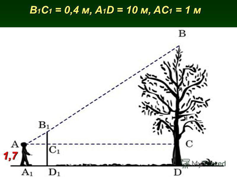 B 1 C 1 = 0,4 м, A 1 D = 10 м, AC 1 = 1 м 1,7