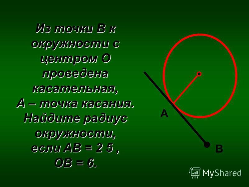 Из точки В к окружности с центром О проведена касательная, А – точка касания. Найдите радиус окружности, если AB = 2 5, OB = 6. А В