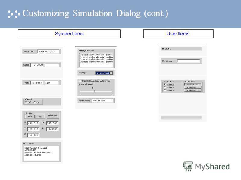 Customizing Simulation Dialog (cont.) System ItemsUser Items