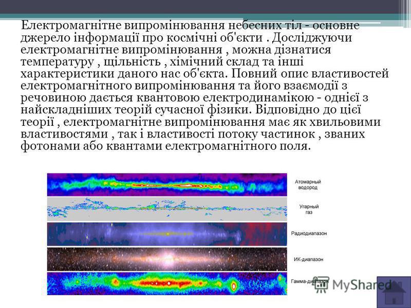 Електромагнітне випромінювання небесних тіл - основне джерело інформації про космічні об'єкти. Досліджуючи електромагнітне випромінювання, можна дізнатися температуру, щільність, хімічний склад та інші характеристики даного нас об'єкта. Повний опис в