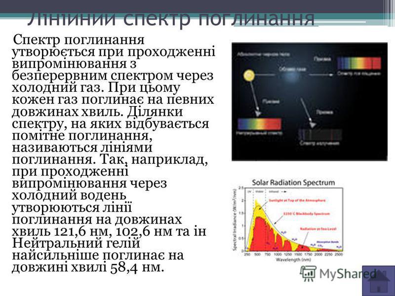 Лінійний спектр поглинання Спектр поглинання утворюється при проходженні випромінювання з безперервним спектром через холодний газ. При цьому кожен газ поглинає на певних довжинах хвиль. Ділянки спектру, на яких відбувається помітне поглинання, назив