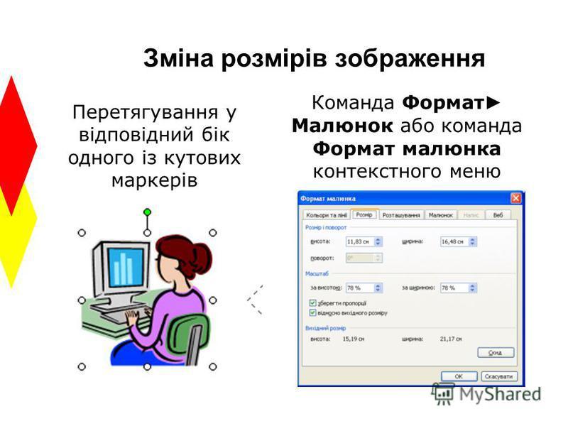 Зміна розмірів зображення Перетягування у відповідний бік одного із кутових маркерів Команда Формат Малюнок або команда Формат малюнка контекстного меню