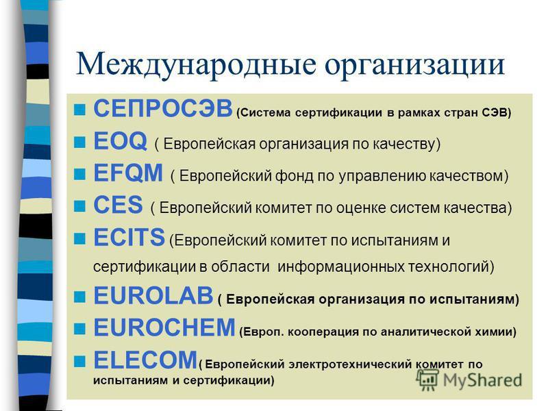 Международные организации СЕПРОСЭВ (Система сертификациии в рамках стран СЭВ) EOQ ( Европейская организация по качеству) EFQM ( Европейский фонд по управлению качеством) CES ( Европейский комитет по оценке систем качества) ECITS (Европейский комитет