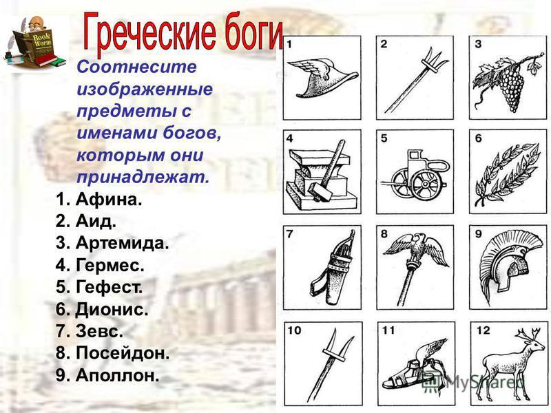 Соотнесите изображенные предметы с именами богов, которым они принадлежат. 1. Афина. 2. Аид. 3. Артемида. 4. Гермес. 5. Гефест. 6. Дионис. 7. Зевс. 8. Посейдон. 9. Аполлон.