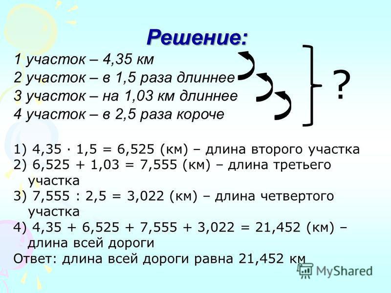 Решение: 1 участок – 4,35 км 2 участок – в 1,5 раза длиннее 3 участок – на 1,03 км длиннее 4 участок – в 2,5 раза короче 1) 4,35 · 1,5 = 6,525 (км) – длина второго участка 2) 6,525 + 1,03 = 7,555 (км) – длина третьего участка 3) 7,555 : 2,5 = 3,022 (