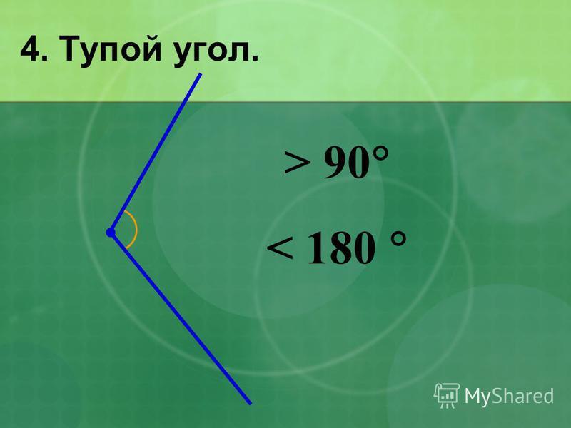 4. Тупой угол. > 90 < 180