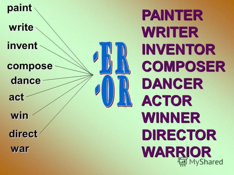 paintwrite invent compose dance act win direct war PAINTERWRITERINVENTORCOMPOSERDANCERACTORWINNERDIRECTORWARRIOR