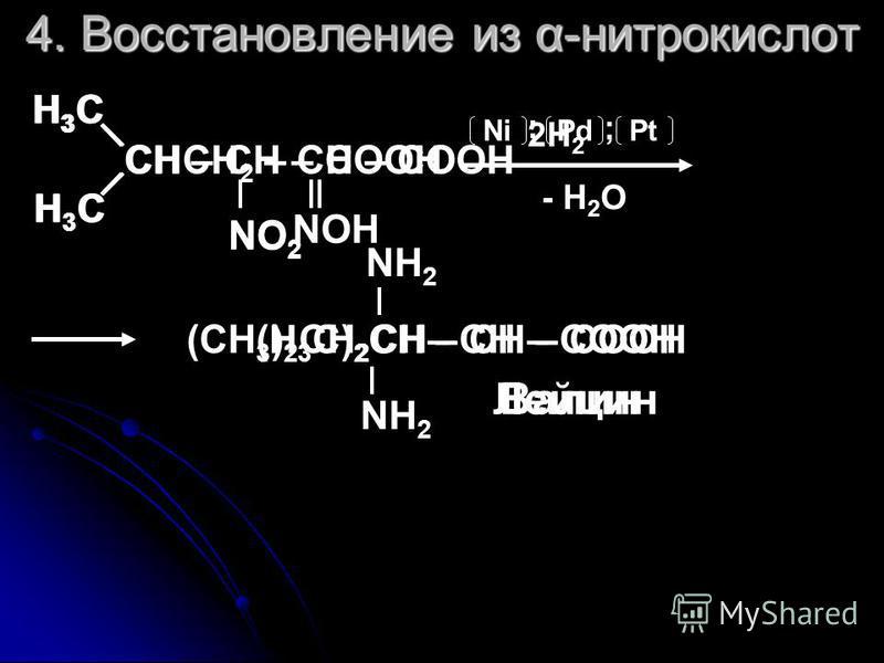 4. Восстановление из α-нитрокислот CH – CH – COOH H 3 C H 3 C NO 2 NiPdPt ; ; - H 2 O (H 3 C) 2 CH – CH – COOH NH 2 NOH (CH 3 ) 2 CH 2 CH– CH – COOH NH 2 Валин Лейцин 2H 2 CHCH 2 – CH – COOH H3CH3C H3CH3C NO 2