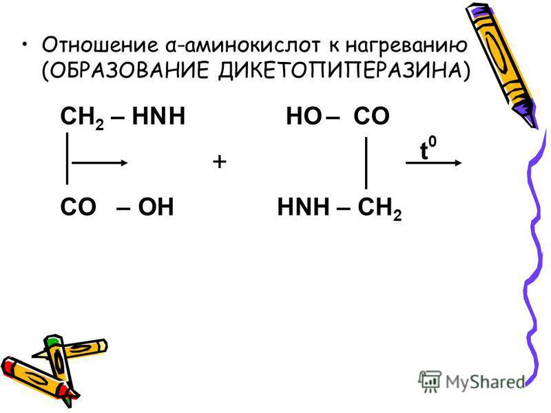 Отношение α-аминокислот к нагреванию (ОБРАЗОВАНИЕ ДИКЕТОПИПЕРАЗИНА) CH 2 – HN NH – CH 2 – CO CO –OH HOH H + t0t0