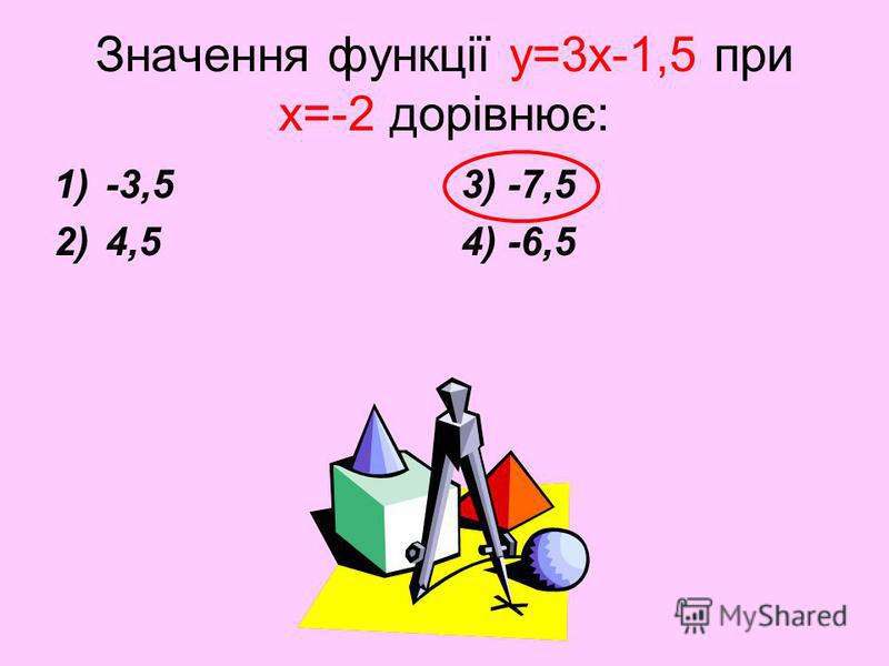 Значення функції y=3x-1,5 при х=-2 дорівнює: 1)-3,5 2)4,5 3) -7,5 4) -6,5