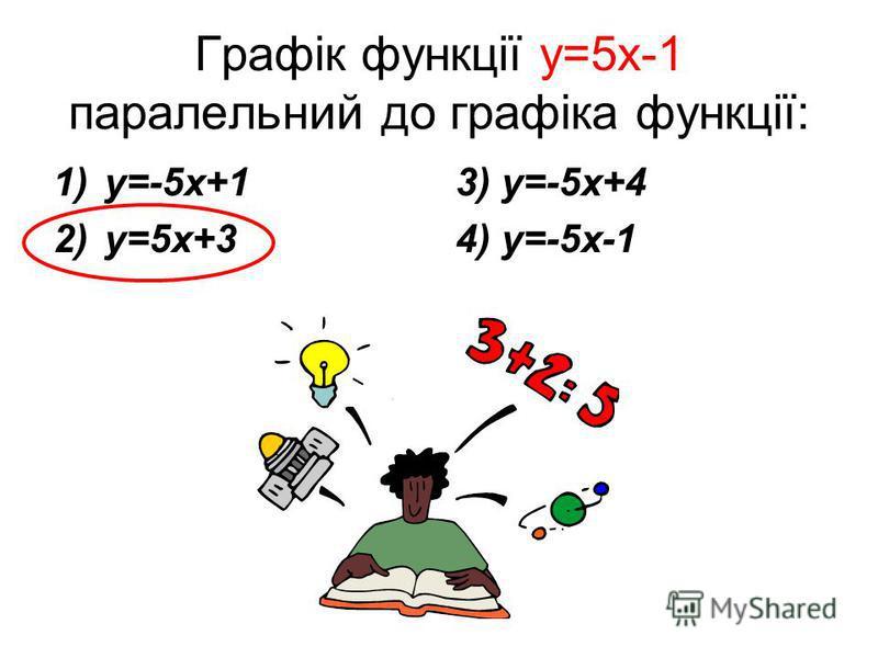 Графік функції y=5x-1 паралельний до графіка функції: 1)y=-5x+1 2)y=5x+3 3) y=-5x+4 4) y=-5x-1