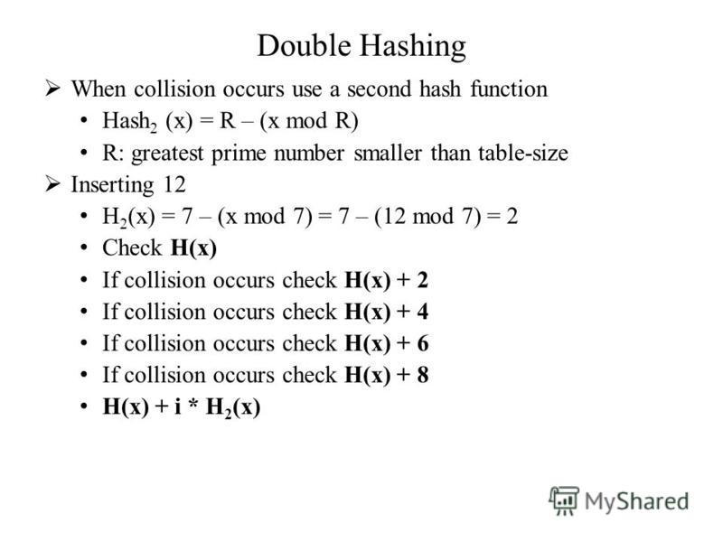 Double Hashing When collision occurs use a second hash function Hash 2 (x) = R – (x mod R) R: greatest prime number smaller than table-size Inserting 12 H 2 (x) = 7 – (x mod 7) = 7 – (12 mod 7) = 2 Check H(x) If collision occurs check H(x) + 2 If col