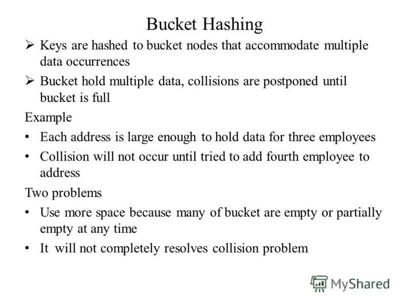 Bucket Hashing Keys are hashed to bucket nodes that accommodate multiple data occurrences Bucket hold multiple data, collisions are postponed until bucket is full Example Each address is large enough to hold data for three employees Collision will no