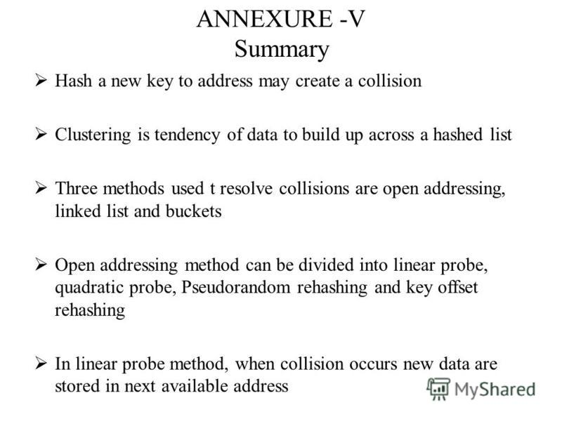 ANNEXURE -V Summary Hash a new key to address may create a collision Clustering is tendency of data to build up across a hashed list Three methods used t resolve collisions are open addressing, linked list and buckets Open addressing method can be di
