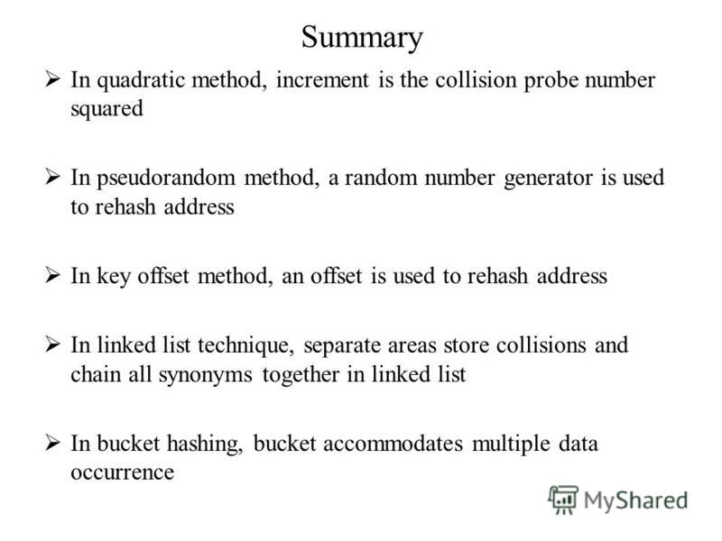 Summary In quadratic method, increment is the collision probe number squared In pseudorandom method, a random number generator is used to rehash address In key offset method, an offset is used to rehash address In linked list technique, separate area
