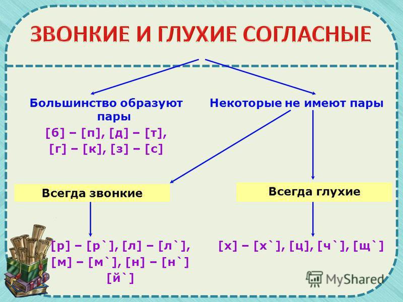 Большинство образуют пары [б] – [п], [д] – [т], [г] – [к], [з] – [с] Некоторые не имеют пары Всегда звонкие Всегда глухие [р] – [р`], [л] – [л`], [м] – [м`], [н] – [н`] [й`] [х] – [х`], [ц], [ч`], [щ`]