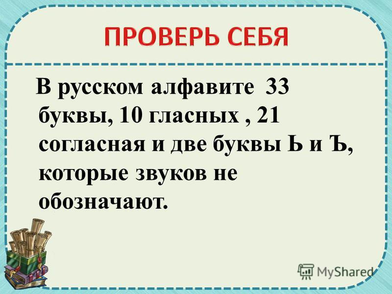 В русском алфавите 33 буквы, 10 гласных, 21 согласная и две буквы Ь и Ъ, которые звуков не обозначают.
