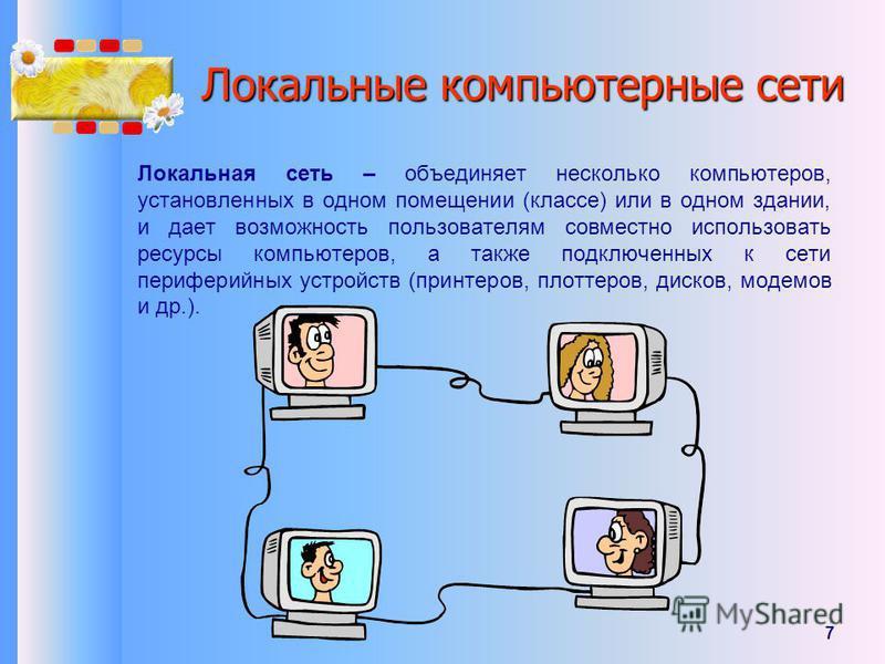7 Локальные компьютерные сети Локальная сеть – объединяет несколько компьютеров, установленных в одном помещении (классе) или в одном здании, и дает возможность пользователям совместно использовать ресурсы компьютеров, а также подключенных к сети пер